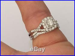 14k White Gold Round Double Halo Bridal Set Engagement Ring Vintage with band