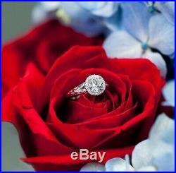 14k White Gold Vintage Halo Style Engagement Wedding Ring 2.20ct Round Diamond