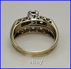 14k White Gold Vintage Ladies Diamond Wedding Ring Set Size 9.25