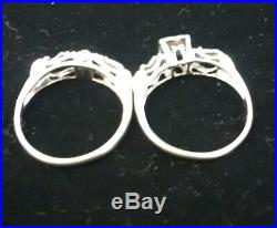 14k White Gold Vintage Victorian Diamond Wedding Ring Set Size 6.25