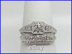 14k White Gold Vintage/antique Diamond Wedding Set. 33tcw Size 6.5