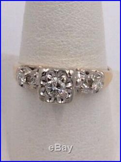 14k Yellow Gold. 48tcw Vintage Estate Diamond Engagement & Wedding Set I-9709