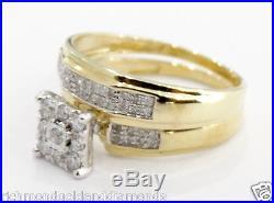14k Yellow Gold Vintage double band Style Diamond Wedding Bridal Set Ring