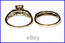 14k white gold. 165ct round diamond vintage engagement wedding band ring 3.6g