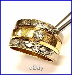 14k yellow gold. 21ct diamond engagement ring wedding band 9.8g estate vintage