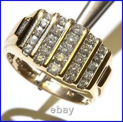 14k yellow gold. 70ct diamond SI2 I mens wedding band anniversary ring vintage