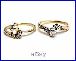 14k yellow gold. 76ct diamond engagement ring wedding band 6.6g vintage estate
