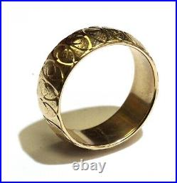 14k yellow gold womens pattern art deco wedding band ring 5.4g vintage size 6