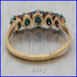 1880's Antique Victorian 10k Yellow Gold 1ctw Turquoise Wedding Band Ring