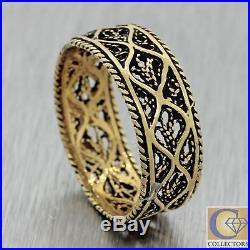1880s Antique Vtg Estate 14k Yellow Gold Filigree 7mm Wide Wedding Band Ring J8