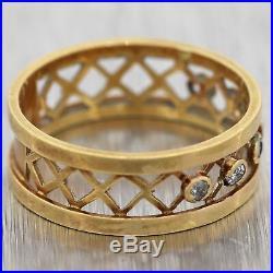 1890's Antique Victorian 18k Yellow Gold 0.15ctw Diamond Wedding Band Ring