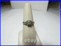 18k Solid White Gold Vintage Ring W /. 30 Ct Mine Cut Natural Diamond