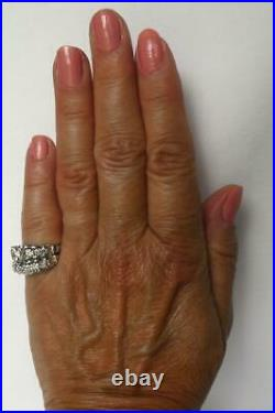18k White Gold Vintage Diamond Engagement Wedding Ring Band Flowers Set 10.4gr