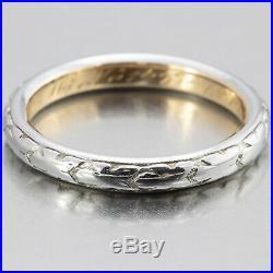 1910's Vintage Edwardian 22k White Gold Filigree Wedding Band Size 7.5