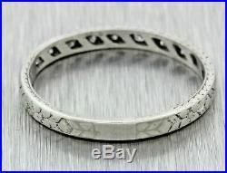 1914 Antique Solid Platinum Diamond 2mm Engraved Wedding Band Ring