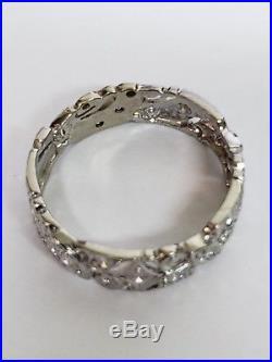 1920S PLATINUM Diamond Wedding Band Vintage Antique Eternity ring SIZE 10 1/4