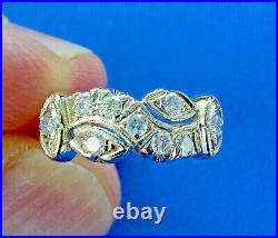 1920 30s Vintage Art Deco Ring Antique European cut Genuine Diamond Wedding Band