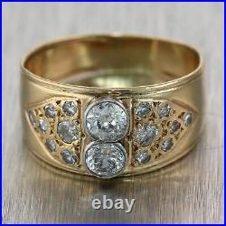 1920's Antique Art Deco 14k Yellow Gold 1ctw Diamond Wedding Band Ring