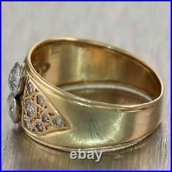 1920's Antique Art Deco 14k Yellow Gold 2.89 Diamond Wedding Band Ring