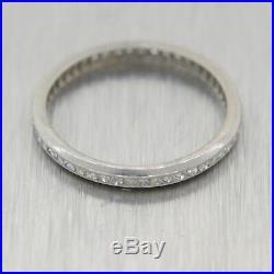 1920's Antique Art Deco 18k White Gold 0.30ctw Diamond Eternity Wedding Band Rin