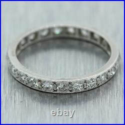 1920's Antique Art Deco Platinum 0.50ctw Diamond Eternity Wedding Band Ring