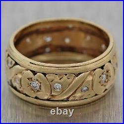 1930 Antique Art Deco 14k Yellow Gold 0.20ctw Diamond Engraved Wedding Band Ring