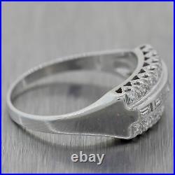 1930's Antique Art Deco 14k White Gold 0.50ctw Diamond Wedding Band Ring