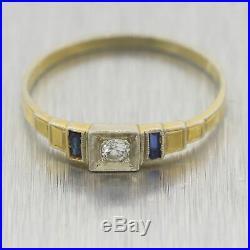 1930's Antique Art Deco 14k Yellow Gold 0.11ctw Sapphire & Diamond Wedding Band