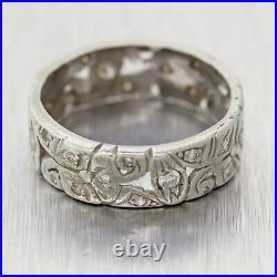 1930's Antique Art Deco Palladium 0.40ctw Diamond Filigree Wedding Band Ring
