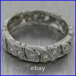 1930's Antique Art Deco Platinum 0.40ctw Diamond Filigree Wedding Band Ring