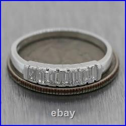 1930's Antique Art Deco Platinum 0.50ctw Baguette Diamond Wedding Band Ring