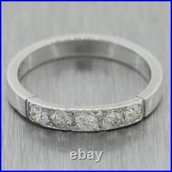 1930's Antique Art Deco Platinum 0.50ctw Diamond Wedding Band Ring