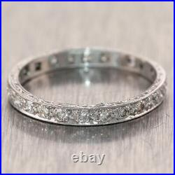 1930's Antique Art Deco Platinum 0.58ctw Diamond Engraved Wedding Band Ring