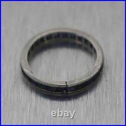 1930's Antique Art Deco Platinum 1ctw Sapphire Wedding Band Ring