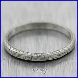 1930's Antique Art Deco Platinum Engraved Wedding Band Ring