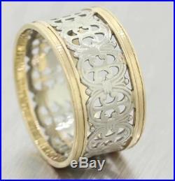 1930's Antique Vintage Estate 14k White & Yellow Gold Filigree Wedding Band Ring