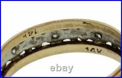 1930s Antique Art Deco 14k Multi Gold Diamond 6mm Wide Wedding Band Ring J8
