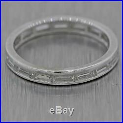 1930s Antique Art Deco 14k White Gold. 80ctw Diamond Baguette Wedding Band Ring