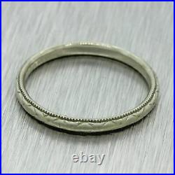 1930s Antique Art Deco 18k White Gold Hand Engraved 2mm Wedding Band Ring
