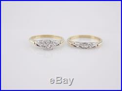 1940's Heirloom Vintage 14k Yellow Gold. 20 TCW Diamond Wedding Set Ring #3116