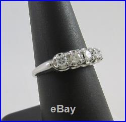 1940's Vintage 14k White Gold. 50 Ct Diamond Anniversary/wedding Ring