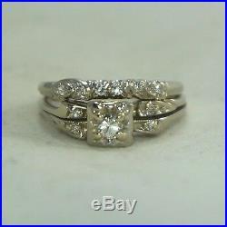 1940s Art Deco Vintage 18k White Gold VVS. 35ctw Diamond Wedding Ring Band Set