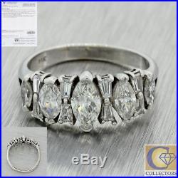 1950 Vtg 14k White Gold 1.67ct Marquise Baguette Diamond Wedding Band Ring $3535
