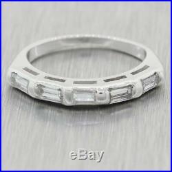 1950's Vintage Estate 14k White Gold 0.50ctw Baguette Diamond Wedding Band Ring