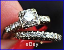 1950s Vintage Diamond Wedding Band Engagement 2 Ring Bridal Set 14K Estate