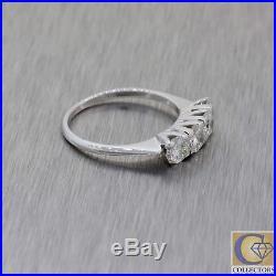 1950s Vtg Estate 14k White Gold 1.00ctw Diamond 4mm 4 Stone Wedding Band Ring Y8