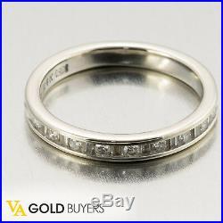 1970s Fine Vintage Estate 14k White Gold Diamond Wedding Band 0.34ctw H / Si1