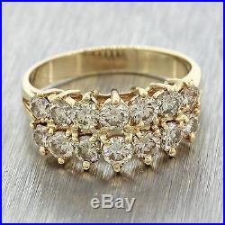 1980s Vintage 14k Solid Yellow Gold 1 38ctw Diamond Cer Wedding Band Ring