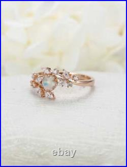 1.20Ct Round Cut Fire Opal 14K Rose Gold Over Engagement Wedding Vintage Ring