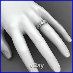 1.20 Ct Round Cut Diamond Vintage Style Engagement Wedding Ring 10k White Gold